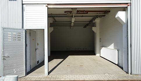 Geöffnete Lagerhalle im Sirius GutenbergPark Mainz